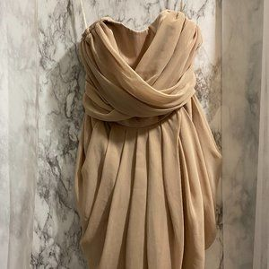 AX Paris Elegant Gold Strapless dress